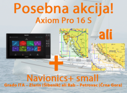"Raymarine Axiom 16 Pro-S HybridTouch 16"" Multi-function Display sonar CHIRP Conical in CPT-S sondo z Navionics+ Small karto za prenos"